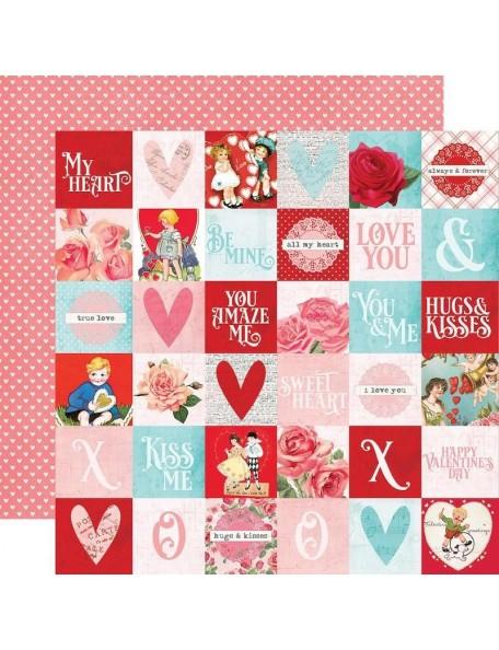 "Simple Vintage My Valentine Cardstock de doble cara 12""X12"", 2""X2"" Elements"