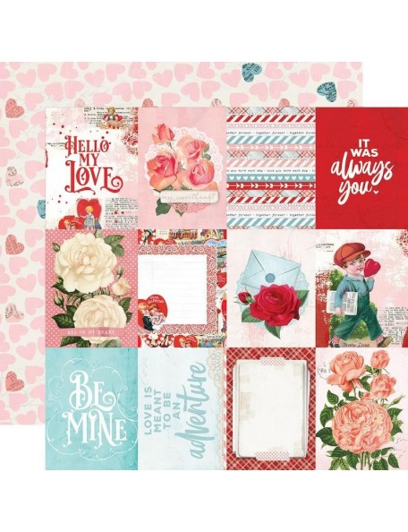 "Simple Vintage My Valentine Cardstock de doble cara 12""X12"", 3""X4"" Elements"