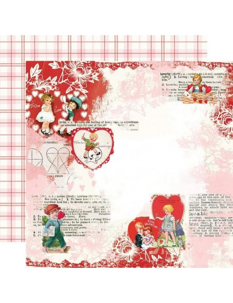 "Simple Vintage My Valentine Cardstock de doble cara 12""X12"", Love You"