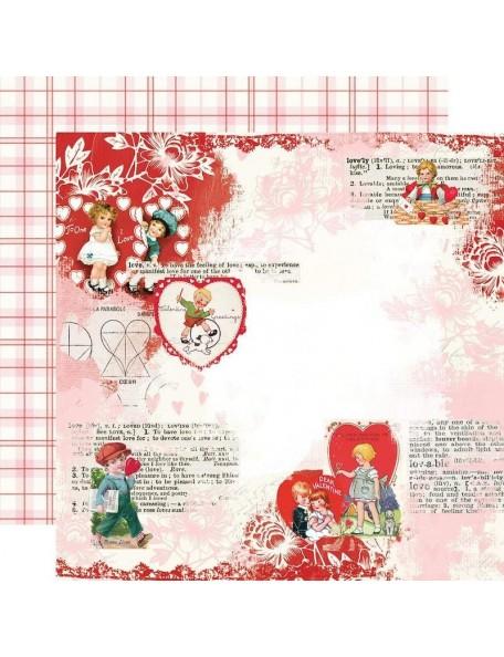 "Simple Vintage My Valentine Cardstock de doble cara 12""X12"", Love You"