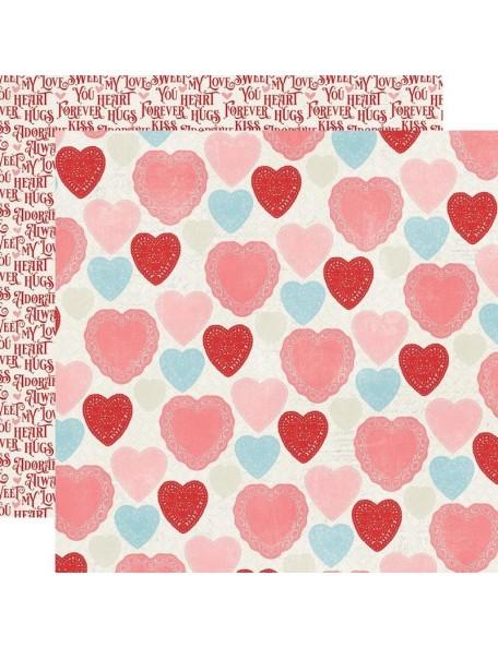 "Simple Vintage My Valentine Cardstock de doble cara 12""X12"", Heart Yo Heart"
