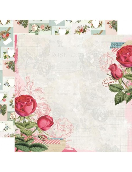 "Simple Vintage My Valentine Cardstock de doble cara 12""X12"", Roses Are Red"