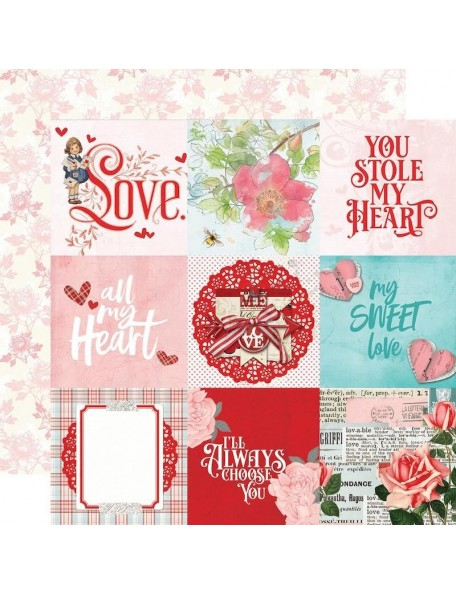 "Simple Vintage My Valentine Cardstock de doble cara 12""X12"", 4""X4"" Elements"