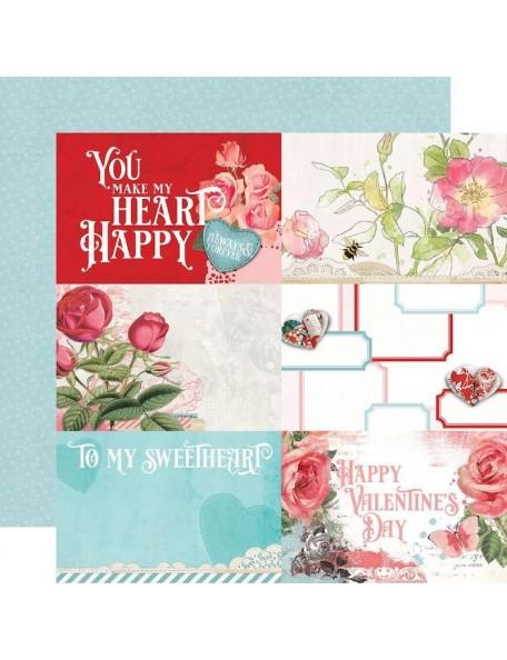 "Simple Vintage My Valentine Cardstock de doble cara 12""X12"", 4""X6"" Elements"