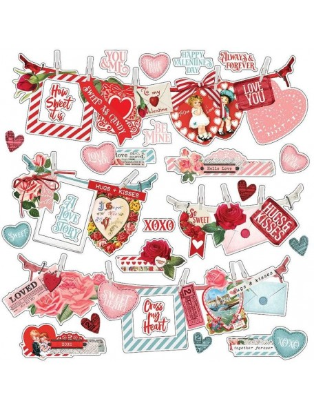 "Simple Vintage My Valentine Pegatinas 12""X12"", Banners"