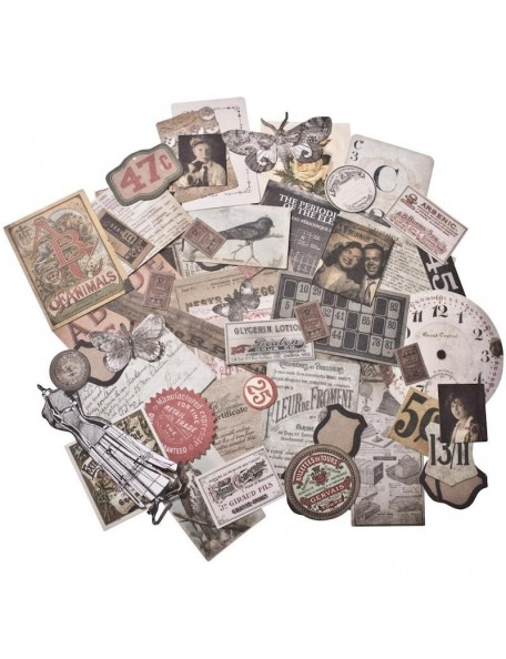 Tim Holtz Idea-Ology Thrift Shop Ephemera Troquelados 54 pzas