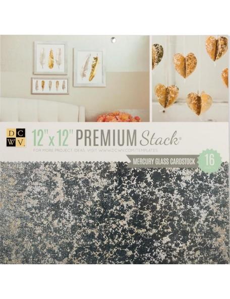 "DCWV Mercury Glass Cardstock 12""X12"" Premium Stack"