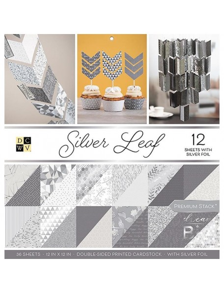 "DCWV Silver Leaf Premium Stack 12""X12"""