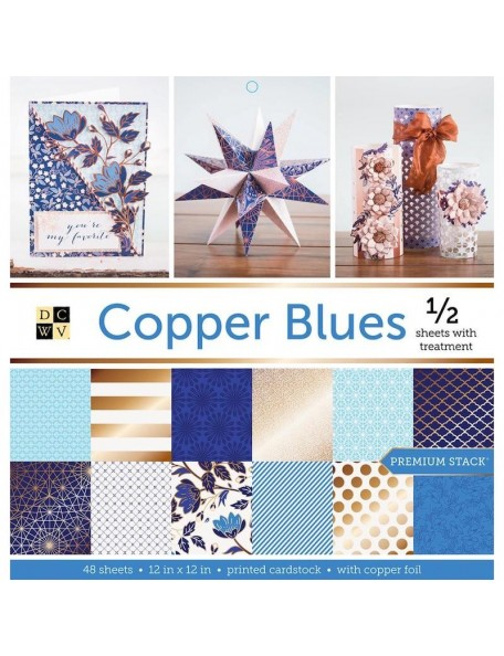 "DCWV Cardstock Stack de doble cara 12""X12"", 48 Copper Blues, 24 Diseños/2 de cada"