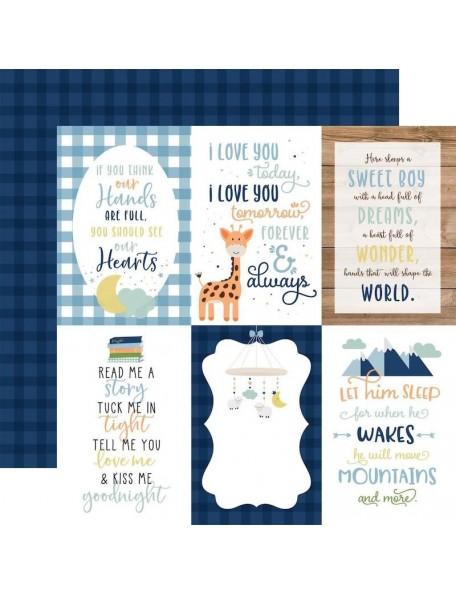"Echo Park Baby Boy Cardstock de doble cara 12x12"", 4""X6"" Journaling Cards"