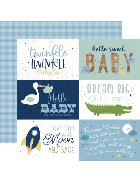 "Echo Park Baby Boy Cardstock de doble cara 12x12"", 6""X4"" Journaling Cards"