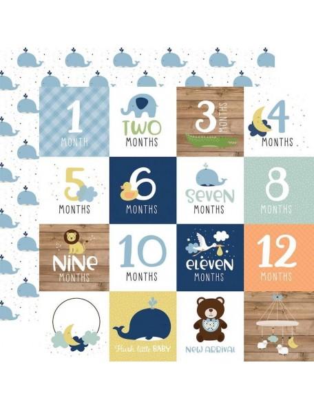 """Echo Park Baby Boy Cardstock de doble cara 12x12"""", Milestone Cards"""