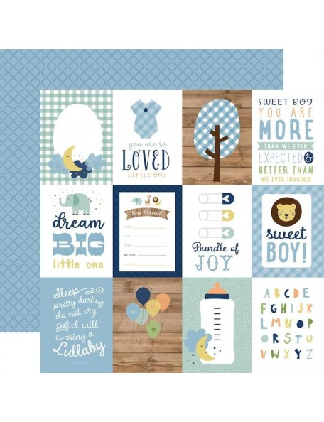 "Echo Park Baby Boy Cardstock de doble cara 12x12"", 3""X4"" Journaling Cards"
