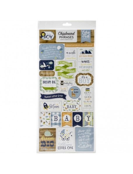 "Echo Park Baby Boy Frases Chipboard 6""X13"""