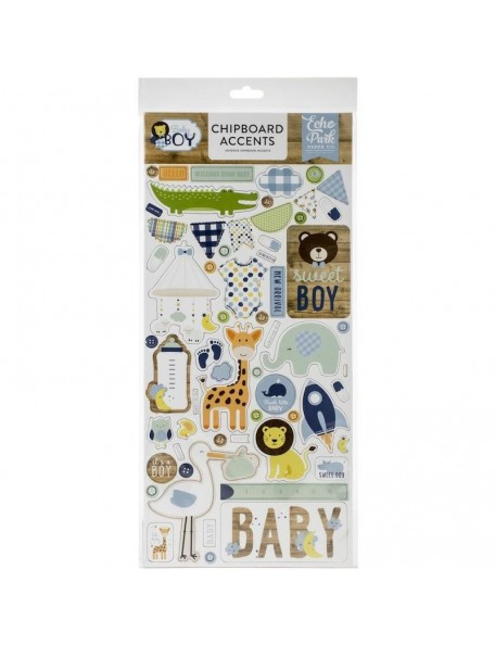 "Echo Park Baby Boy Chipboard 6""X13"", Accents"