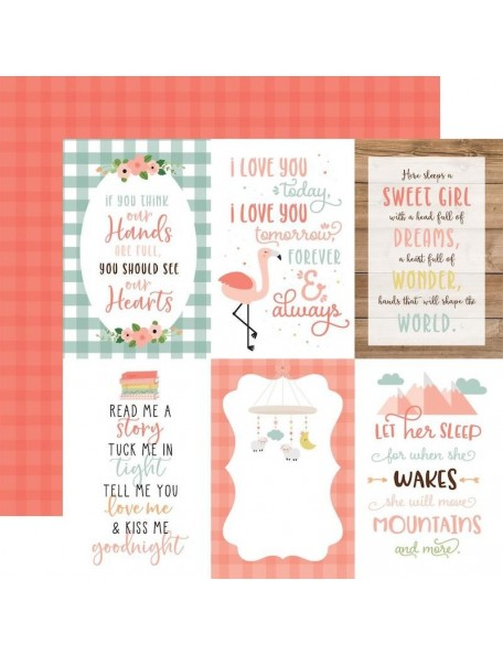 "Echo Park Baby Girl Cardstock de doble cara 12x12"", 4""X6"" Journaling Cards"