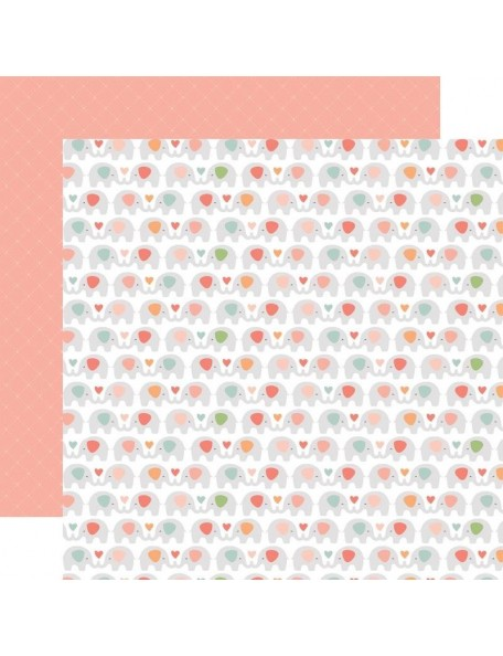 "Echo Park Baby Girl Cardstock de doble cara 12x12"", 4""X6"" Sweet Elephants"