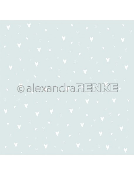 Alexandra Renke Cardstock una cara 30,5x30,5 cm, Weiße Herzen auf Hellblau