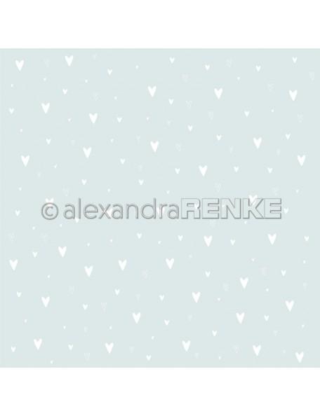 Alexandra Renke, Weiße Herzen auf Hellblau