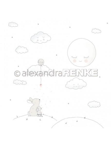 Alexandra Renke Cardstock una cara 30,5x30,5 cm, Baby Hasen auf dem Hügel