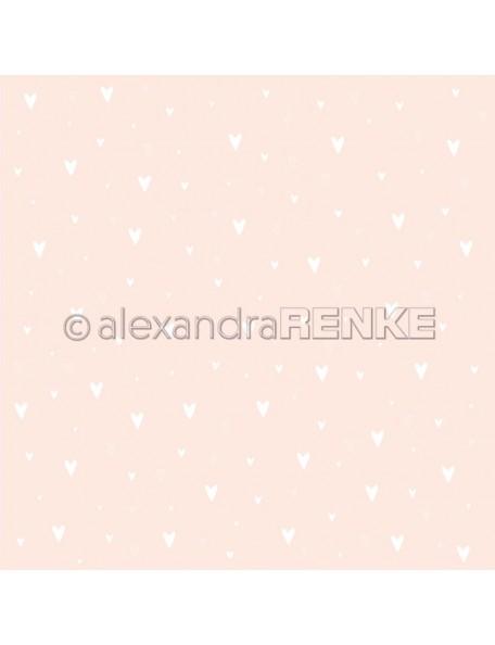 Alexandra Renke Cardstock una cara 30,5x30,5 cm, Weiße Herzen auf Rosa