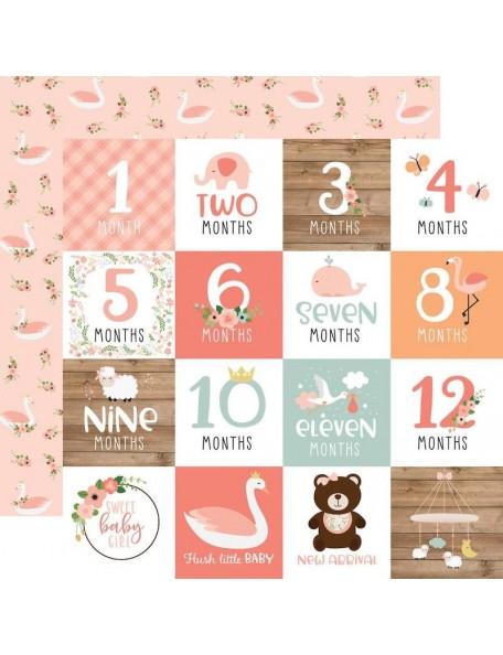 "Echo Park Baby Girl Cardstock de doble cara 12x12"", Milestone Cards"