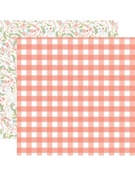 "Echo Park Baby Girl Cardstock de doble cara 12x12"", Girl Gingham"