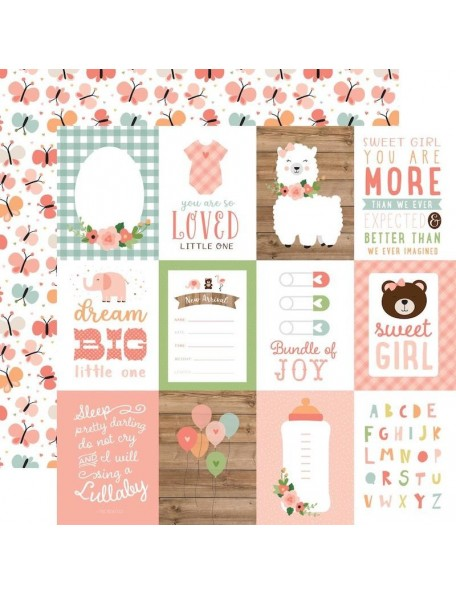 "Echo Park Baby Girl Cardstock de doble cara 12x12"", 3""X4"" Journaling Cards"
