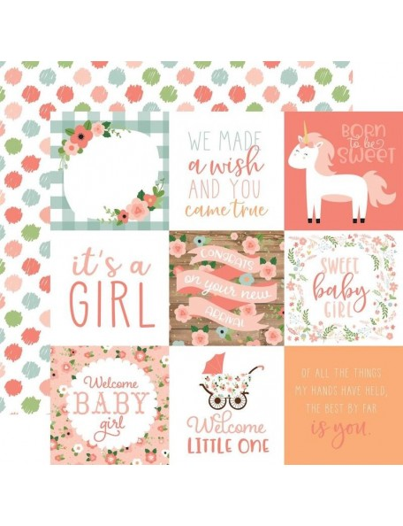 "Echo Park Baby Girl Cardstock de doble cara 12x12"", 4""X4"" Journaling Cards"