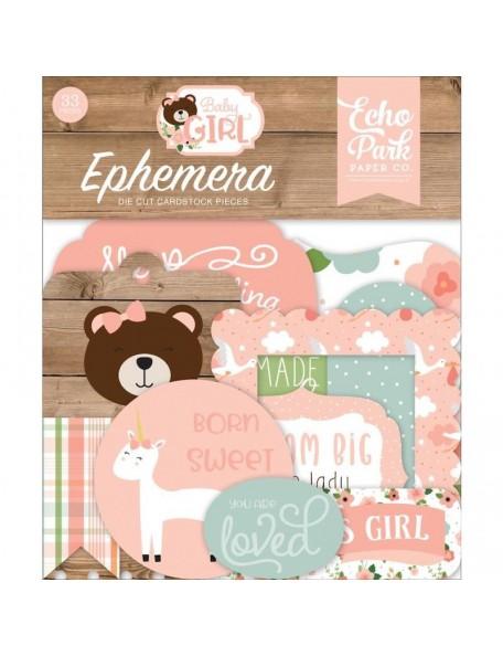 Echo Park Baby Girl Cardstock Ephemera 33 Iconos