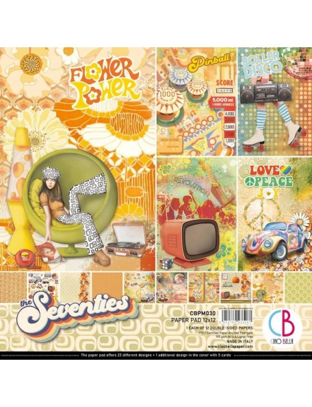 "Ciao Bella Pack de Cardstock doble cara 12""x12"", The Seventies"