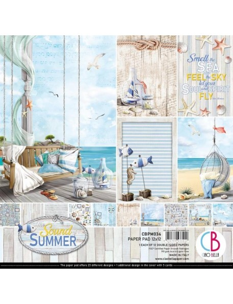 "Ciao Bella Pack de Cardstock doble cara 12""x12"", Sound Of Summer"