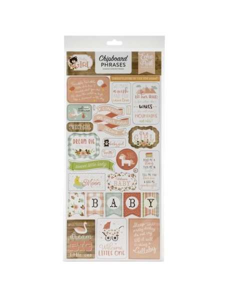 "Echo Park Baby Girl Frases Chipboard 6""X13"""