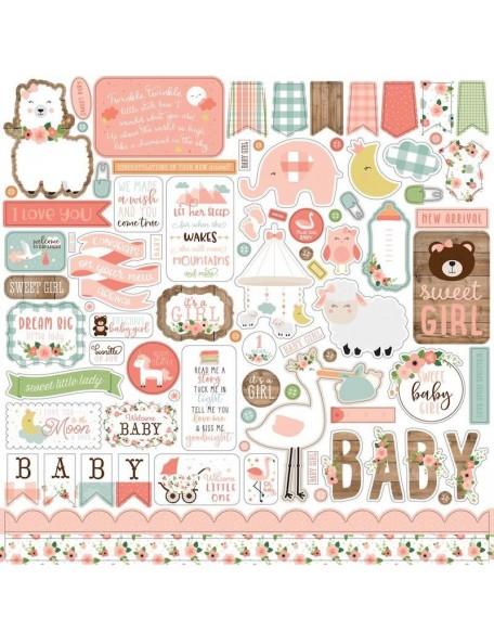 "Echo Park Baby Girl Cardstock Pegatinas 12""X12"", Elementos"