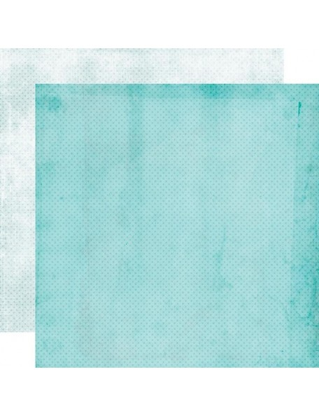 "Simple Vintage My Valentine Cardstock de doble cara 12""X12"", Aqua/Powder Dots Simple Basics"