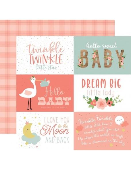 "Echo Park Baby Girl Cardstock de doble cara 12x12"", 6""X4"" Journaling Cards"