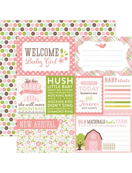 "Echo Park Bundle Of Joy/A New Addition Cardstock de doble cara 12""X12"", Baby Girl, Welcome"