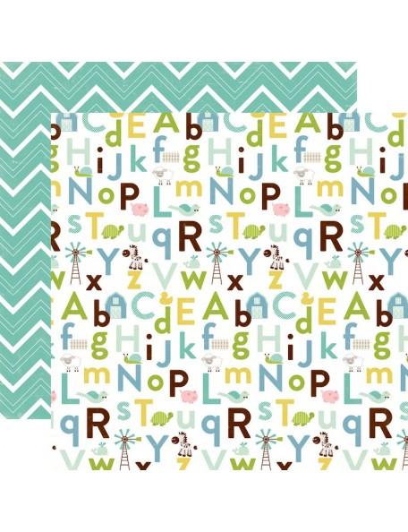 "Echo Park Bundle Of Joy/A New Addition Cardstock de doble cara 12""X12"", Baby Boy, Alphabet"