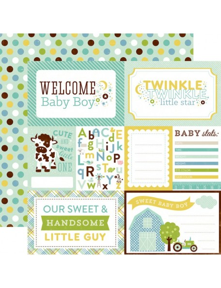 "Echo Park Bundle Of Joy/A New Addition Cardstock de doble cara 12""X12"", Baby Boy, Welcome"