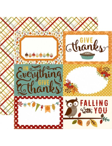 "Echo Park Fall Is In The Air Cardstock de doble cara 12""X12"", journaling cards 4x6"