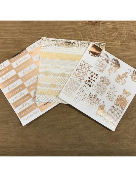"Prima Marketing Foil Washi Stickers 6""X6"", 3 Hojas Grand Restoration"