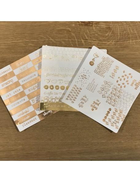 """Prima Marketing Foil Washi Stickers 6""""X6"""", 3 Hojas Coffee Break"""