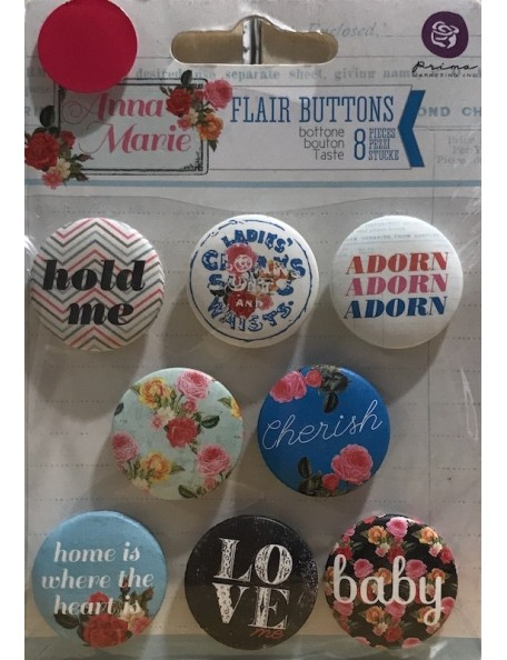 "Prima Marketing Anna Marie Flair Buttons 1"" 8 PZAS"