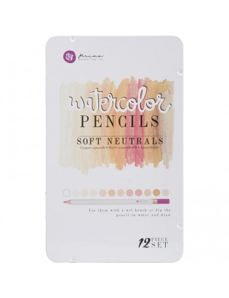 Prima Marketing Soft Neutrals Mixed Media Watercolor Pencils 12