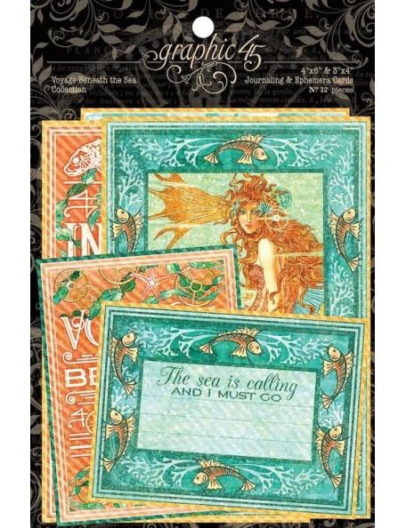 "Graphic 45 Voyage Beneath The Sea Ephemera Cards (16) 4""X6"" & (16) 3""X4"""
