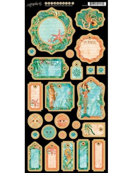"""Graphic 45 Voyage Beneath The Sea Chipboard Troquelados 6""""X12"""""""