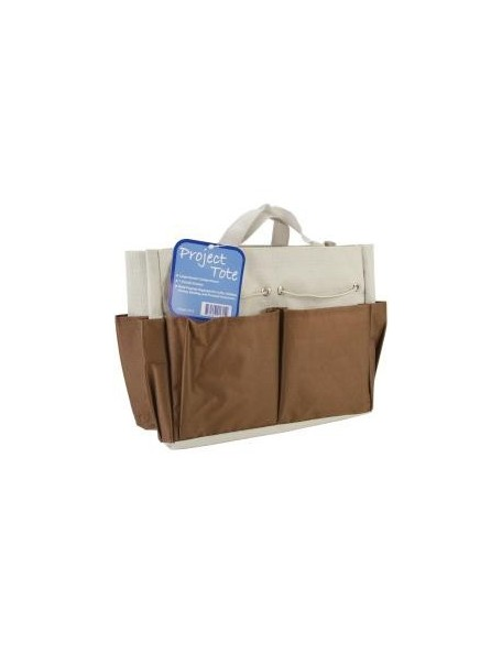 "Allary Project Tote 9.5""X8.5""X5"" Brown & Ecru"