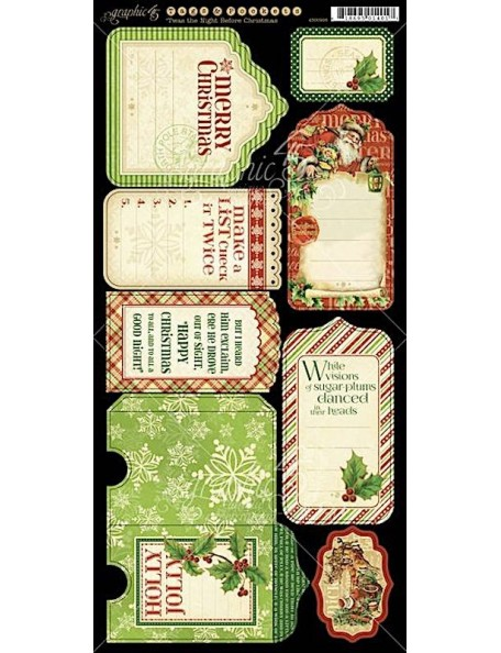 Graphic 45 Twas the Night Before Christmas Cardstock Tags & Pockets