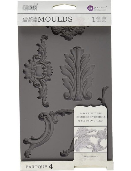 "Prima Markeing Iron Orchid Designs Vintage Art Decor Mould 5""X8"" Baroque N. 4"