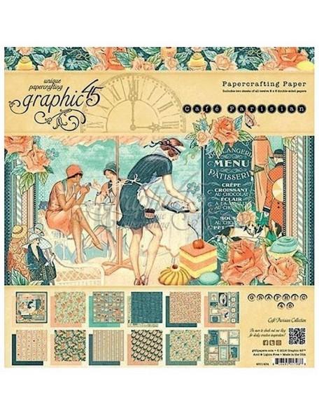 "Graphic 45 Cafe Parisian Paper Pad 8x8"""